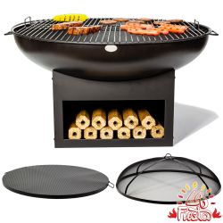 80cm Fire Bowl BBQ Complete Kit with Wood Store in Black - by La Fiesta
