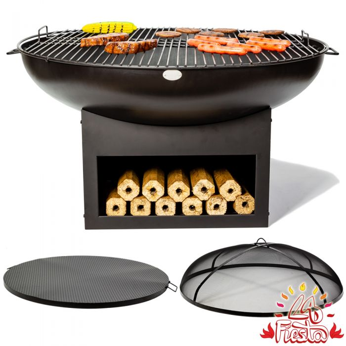 100cm Fire Bowl BBQ Complete Kit with Wood Store in Black - by La Fiesta