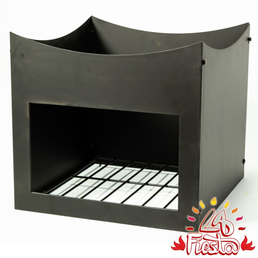Black Steel Wood Store Stand for 75cm Fire Bowl - by La Fiesta