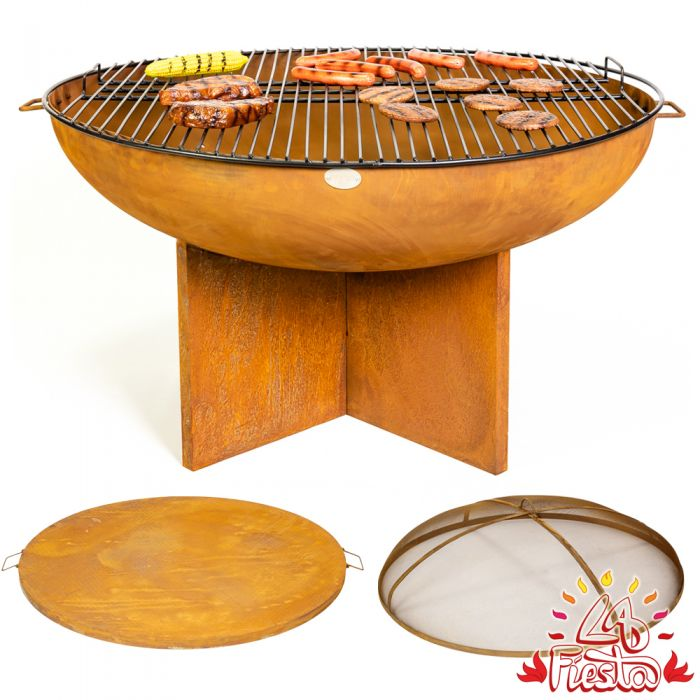 80cm Fire Bowl BBQ Complete Kit with Cross Base - by La Fiesta