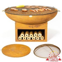 75cm Fire Bowl BBQ Complete Kit with Wood Store - by La Fiesta