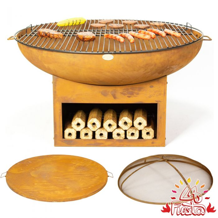 80cm Fire Bowl BBQ Complete Kit with Wood Store - by La Fiesta