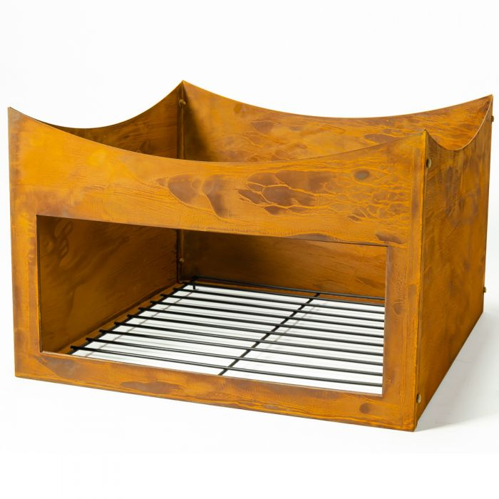 Rust Finish Steel Wood Store Stand for 100cm Fire Bowl - by La Fiesta
