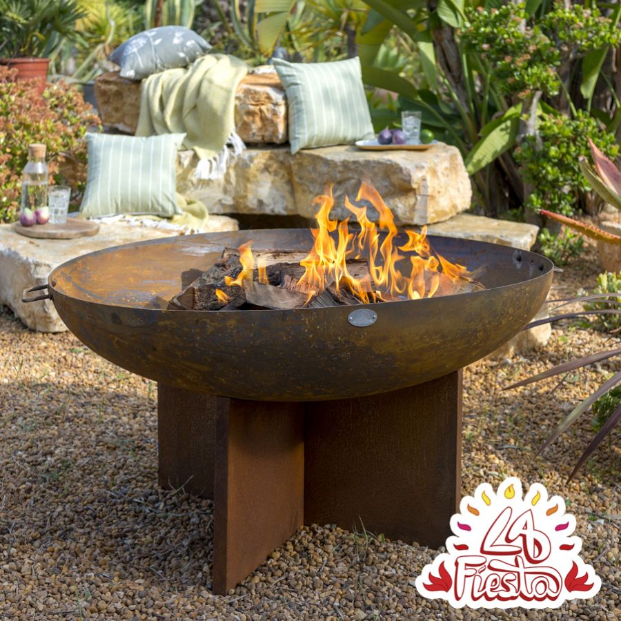 75cm Fire Bowl with Cross Base - by La Fiesta