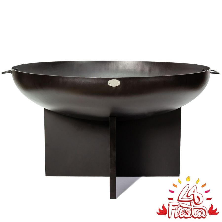 75cm Fire Bowl with Cross Base in Black - by La Fiesta