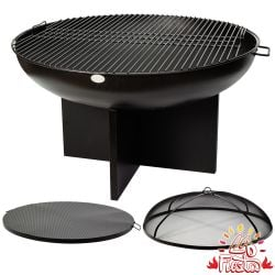 80cm Fire Bowl BBQ Complete Kit with Cross Base in Black - by La Fiesta