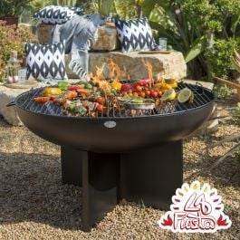 80cm Fire Bowl with Cross Base in Black - by La Fiesta