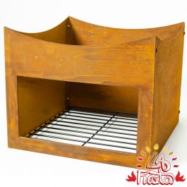 Rust Finish Steel Wood Store Stand for 80cm Fire Bowl - by La Fiesta