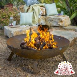 100cm Carbon Steel Rust Finish Large Fire Pit - by La Fiesta