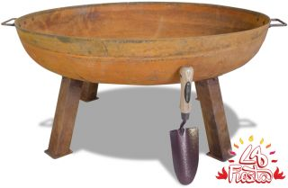 80cm Carbon Steel Rust Finish Fire Bowl - by La Fiesta