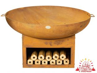 75cm Fire Bowl with Wood Store - by La Fiesta
