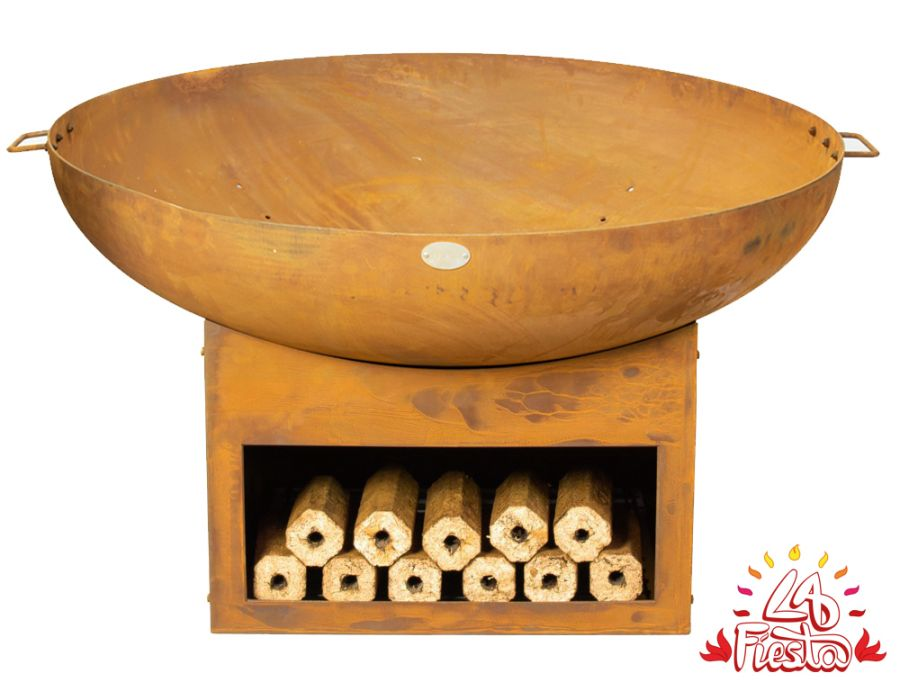 100cm Fire Bowl with Wood Store - by La Fiesta