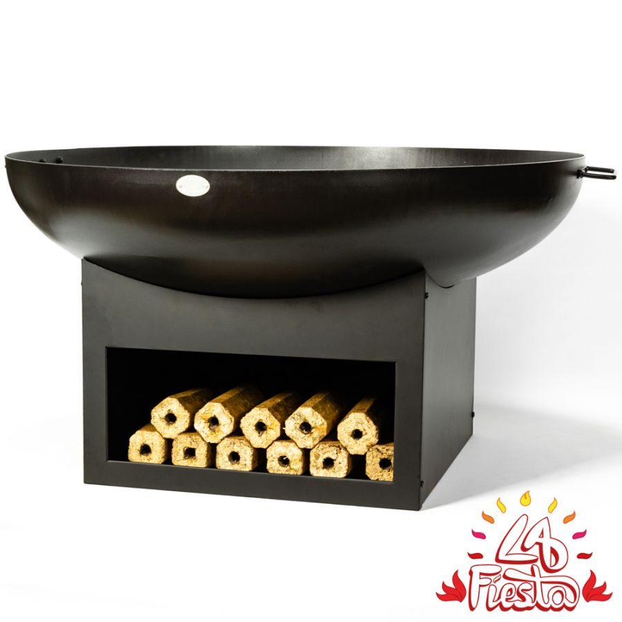 100cm Fire Bowl with Wood Store in Black - by La Fiesta