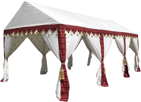 6x12m Luxury Indian-Style Waterproof Polycotton Red Marquee - by Kerala™