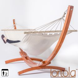 Tortola Wooden Hammock Stand With White Hammock
