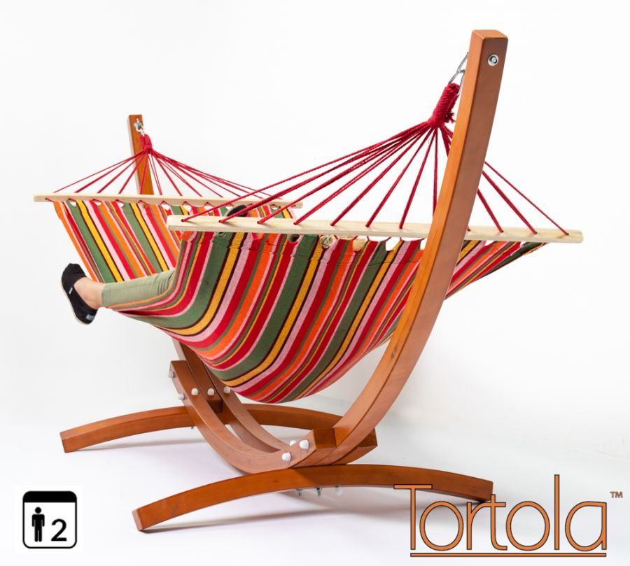 Tortola Wooden Hammock Stand With Summer Multi-Stripe Hammock