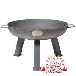 55cm Cast Iron  Steel Finish Fire Bowl - by La Fiesta