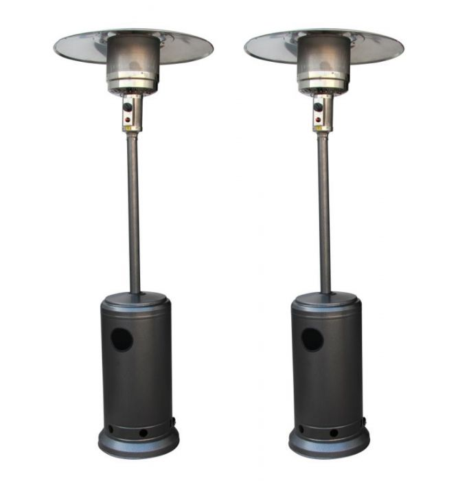 Pair of 12kW Freestanding Powder Coated Steel Silver Gas Patio Heater by Firefly™