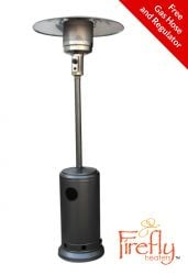 12kW Freestanding Powder Coated Steel Silver Gas Patio Heater by Firefly™