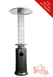 12kW Flame Column Gas Patio Heater in Silver Firefly™