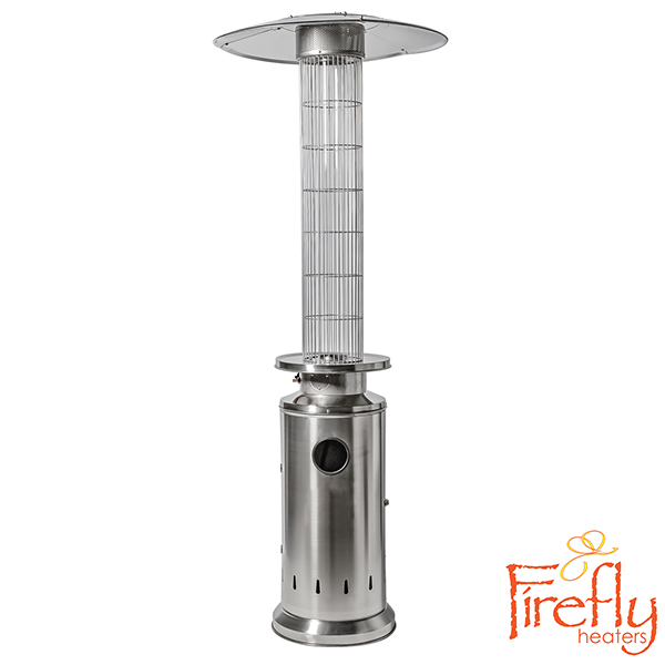 12kW Flame Column Gas Patio Heater in Stainless Steel byFirefly™
