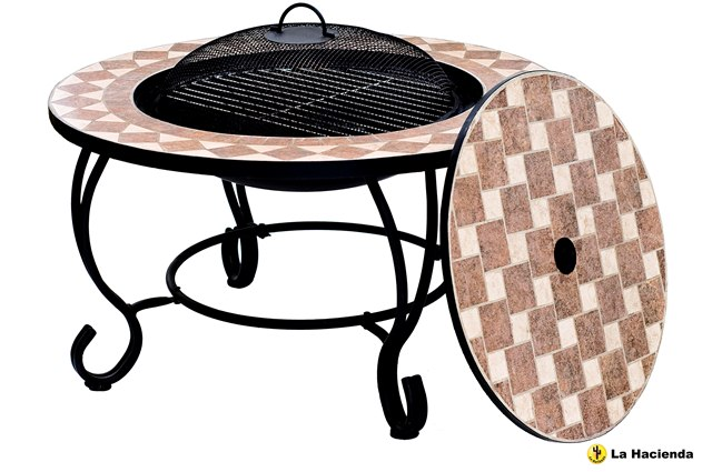 Napoli Mosaic Firebowl Grill And Table - Dia 76cm