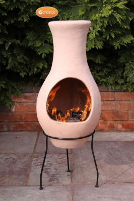 Air Clay Chiminea By Gardeco - H115cm x D42cm