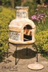 Small Circles Clay BBQ Chimenea - H75cm x D36cm