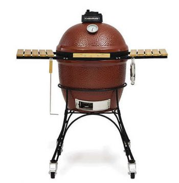 "3 in 1 Kamado Joe Classic 18"" Red Trolley Barbecue with Side Shelves"