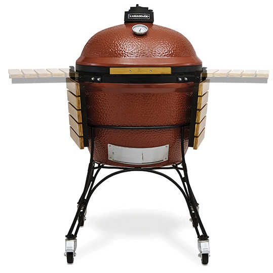 "3 in 1 Kamado Big Joe 24"" Red Ceramic Trolley Barbecue with Side Shelves"