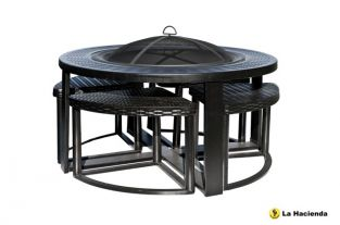 Messina Firepit and Stool Set