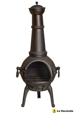 Lisbon Chimenea, Cast Iron and Steel, X Large - H125cm x D45cm