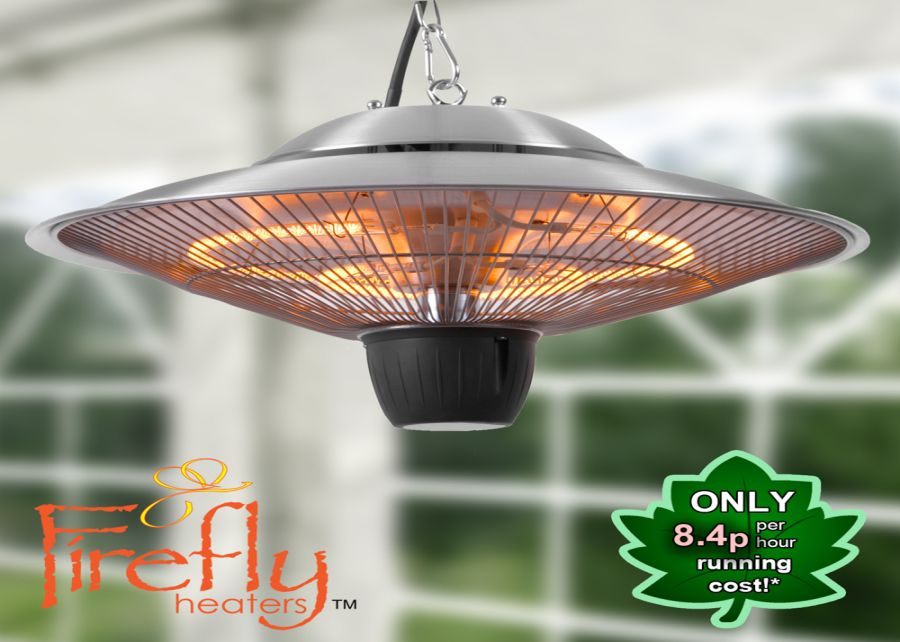 1.5kW IP34 Hanging Ceiling Halogen Bulb Electric Infrared Patio Heater With 2 Heat Settings by Firefly™