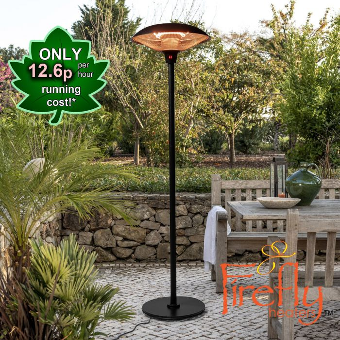 2.1kW IP44 Free Standing Halogen Patio Heater Black by Firefly™