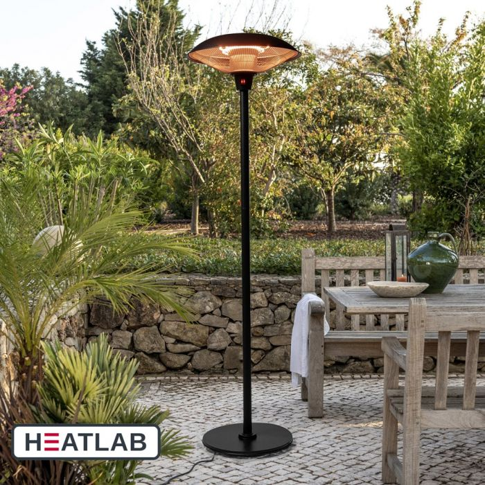 2.1kW IP44 Free Standing Halogen Patio Heater Black by Heatlab®
