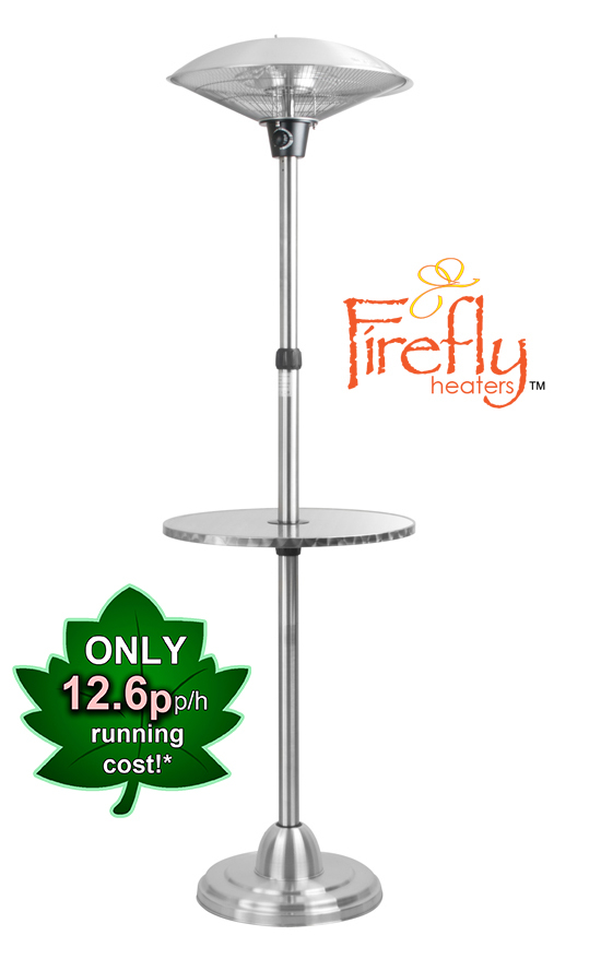 2.1kW IP44 Freestanding Electric Halogen Infrared Heater with Table by Firefly™