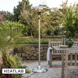 2.1kW IP44 Free Standing Adjustable Height Halogen Patio Heater by Firefly™