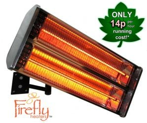 2kW Wall Mounted Halogen Bulb Electric Infrared Patio Heater (2 Heating Elements) by Firefly™