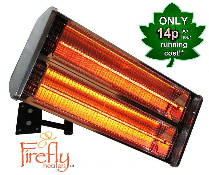 Firefly™ 2kW Wall Mounted Halogen Bulb Electric Infrared Patio Heater (2 Heating Elements)