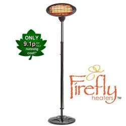 2kW IPX4 Freestanding Electric Quartz Bulb Patio Heater in Black - 3 Power Settings - Firefly™