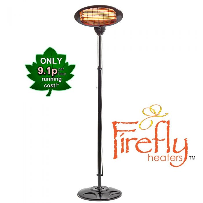 2kW IPX4 Freestanding Electric Quartz Bulb Patio Heater in Black - 3 Power Settings by Firefly™