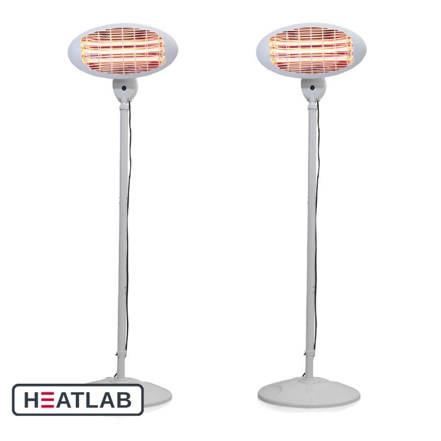 Set of 2 2kW IPX4 Freestanding Electric Quartz Bulb Patio Heater in White - 3 Power Settings - Heatlab®