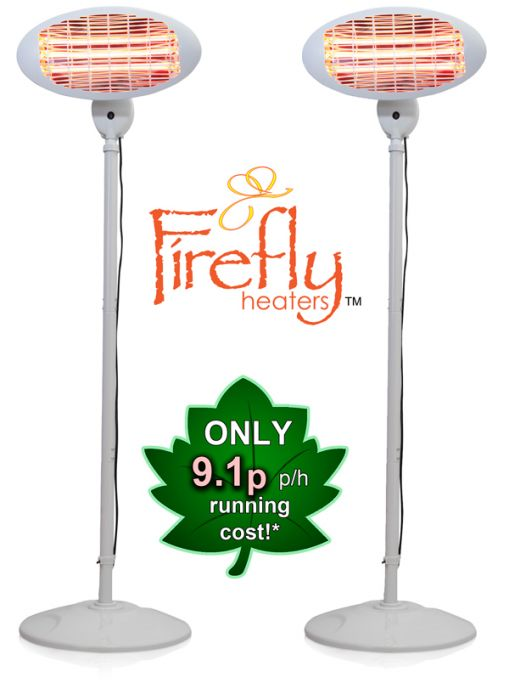 Set of 2 2kW IPX4 Freestanding Electric Quartz Bulb Patio Heater in White - 3 Power Settings - Firefly™