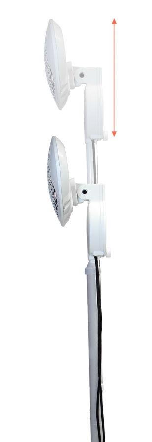 2kW IPX4 Freestanding Electric Quartz Bulb Patio Heater in White - 3 Power Settings - Firefly™