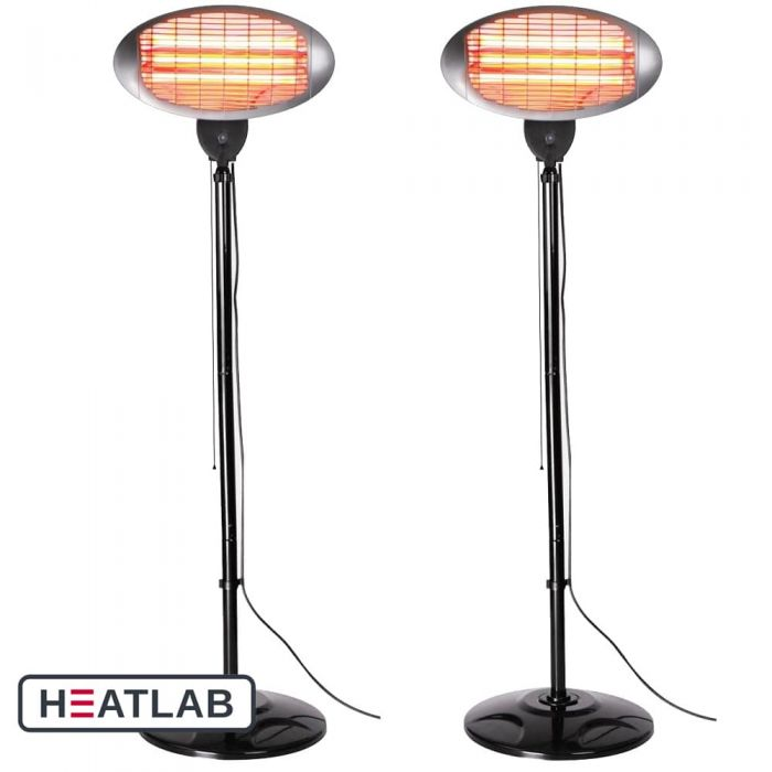 Set of 2 2kW Freestanding Electric Quartz Bulb Patio Heaters - 3 Power Settings by Heatlab®