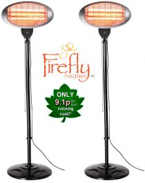 Set of 2 2kW IPX4 Freestanding Electric Quartz Bulb Patio Heaters - 3 Power Settings by Firefly™