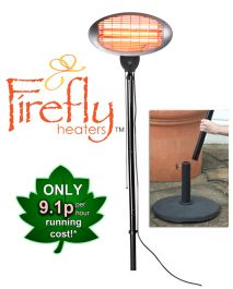 2kW IPX4 Base-Free Electric Quartz Bulb Patio Heater - 3 Power Settings by Firefly™