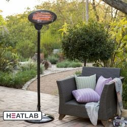2kW IPX4 Freestanding Electric Quartz Bulb Patio Heater - 3 Power Settings -  by Heatlab®