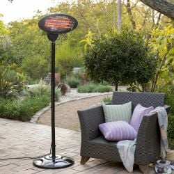 2kW IPX4 Freestanding Electric Quartz Bulb Patio Heater - 3 Power Settings - Firefly™