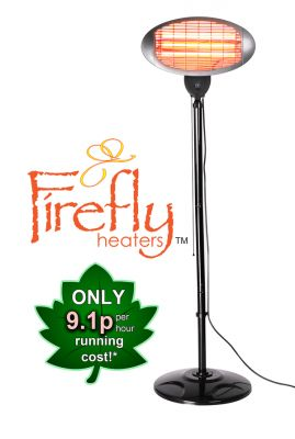 Firefly™ 2kW Freestanding Electric Quartz Bulb Patio Heater - 3 Power Settings